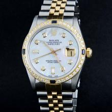 Rolex Two-Tone MOP Diamond and Sapphire DateJust Men's Watch