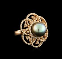 Tahitian Pearl and Diamond Ring - 14KT Rose Gold