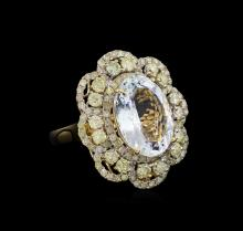 6.58 ctw Aquamarine and Diamond Ring - 14KT Yellow Gold