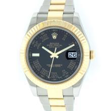 Rolex Two-Tone Black Roman DateJust Men's Watch