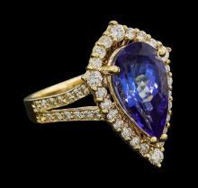 3.90 ctw Tanzanite and Diamond Ring - 14KT Yellow Gold