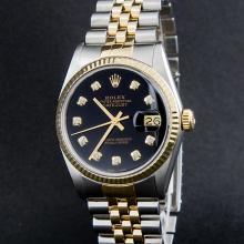 Rolex Two-Tone Black Diamond DateJust  Men's Watch