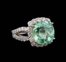 9.35 ctw Emerald and Diamond Ring - 14KT White Gold