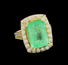 GIA Cert 10.98 ctw Emerald and Diamond Ring - 14KT Yellow Gold