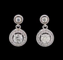 1.44 ctw Diamond Earrings - 14KT White Gold