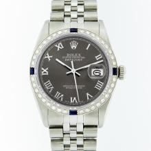 Rolex Stainless Steel Dark Rhodium Roman Sapphire DateJust Men's Watch