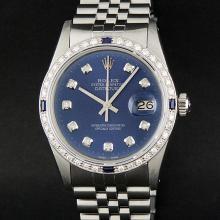 Rolex Stainless Steel Blue Diamond and Sapphire DateJust Men's Watch