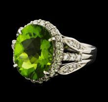 6.64 ctw Peridot and Diamond Ring - Platinum