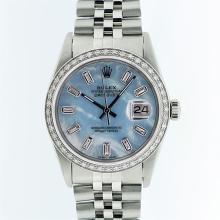 Rolex Stainless Steel Blue MOP Diamond DateJust Men's Watch