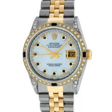 Rolex Mens Two Tone Diamond Lugs Mother Of Pearl String Sapphire and Diamond Dat