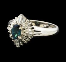 0.47 ctw Alexandrite and Diamond Ring - Platinum