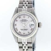 Rolex Stainless Steel Silver Roman DateJust Ladies Watch