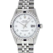 Rolex Stainless Steel Diamond and Sapphire DateJust Men's Wristwatch