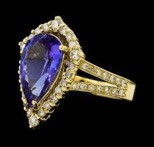 3.10 ctw Tanzanite and Diamond Ring - 14KT Yellow Gold