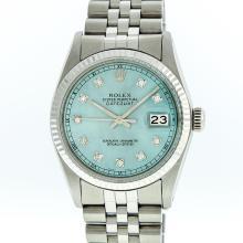 Rolex Stainless Steel Ice Blue Diamond DateJust Men's Watch