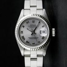 Rolex SS Slate Grey Roman With Square Track Oyster Band DateJust Ladies Watch