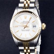 Rolex Two-Tone Silver Stick DateJust Ladies Watch