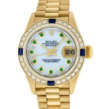 Rolex 18KT Yellow Gold President Emerald and Diamond Ladies Watch