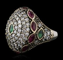 Silver 2.20 ctw Ruby, Emerald and Cubic Zirconia Ring
