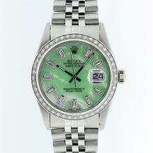 Rolex Stainless Steel Green MOP Diamond DateJust Men's Watch