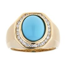 2.95 ctw Turquoise and Diamond Ring - 14KT Yellow Gold