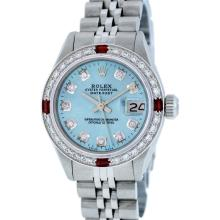 Rolex Stainless Steel Diamond and Ruby DateJust Ladies Watch