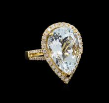 9.76 ctw Aquamarine and Diamond Ring - 14KT Yellow Gold