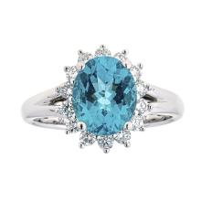 2.56 ctw Apatite and Diamond Ring - 18KT White Gold
