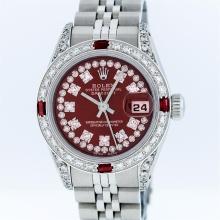 Rolex Stainless Steel Burgundy String Diamond VVS DateJust Ladies Watch