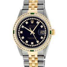 Rolex Two Tone VVS Diamond and Emerald DateJust Men's Watch