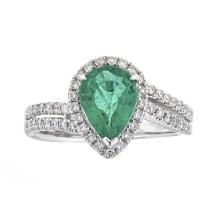 1.38 ctw Emerald and Diamond Ring - 18KT White Gold