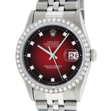 Rolex Stainless Steel Red Vignette Diamond DateJust Men's Watch