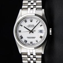 Rolex Stainless Steel White Roman Smooth Bezel DateJust Men's Watch