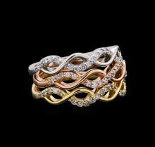 0.44 ctw Diamond Ring - 14KT Tri Color Gold
