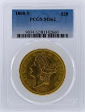 1898-S PCGS MS62 $20 Liberty Head Double Eagle Gold Coin