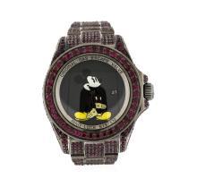 Rolex PVD Stainless Steel Ruby Sea-Dweller DeepSea Men's Watch