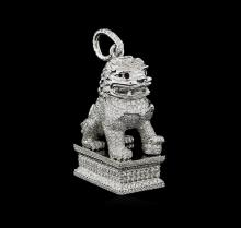 12.24 ctw Diamond Foo Dog Pendant - Platinum