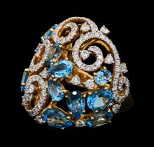 5.00 ctw Blue Topaz and Diamond Ring - 18KT Yellow Gold