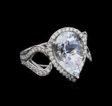 5.77 ctw Aquamarine and Diamond Ring - 14KT White Gold