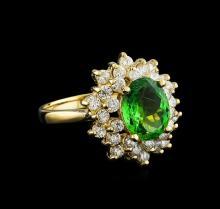 2.11 ctw Tsavorite Garnet and Diamond Ring - 14KT Yellow Gold