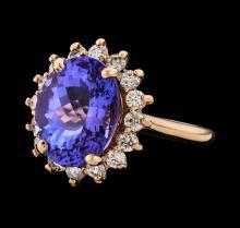 7.19 ctw Tanzanite and Diamond Ring - 14KT Rose Gold