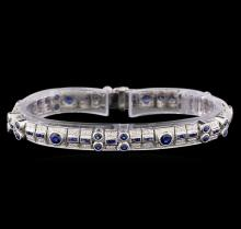 4.24 ctw Sapphire and Diamond Bracelet - 18KT White Gold