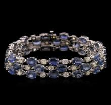 37.44 ctw Blue Sapphire and Diamond Bracelet - 14KT White Gold