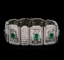 Platinum GIA Certified 9.37 ctw Emerald and Diamond Bracelet
