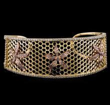 2.25 ctw Diamond Cuff Bracelet - 14KT Yellow and Rose Gold