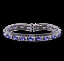 14KT White Gold 15.01 ctw Tanzanite and Diamond Bracelet