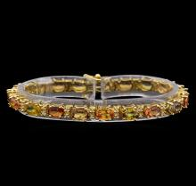 14KT Yellow Gold 15.58 ctw Multicolor Sapphire and Diamond Bracelet