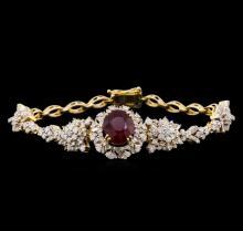 5.04 ctw Ruby and Diamond Bracelet - 14KT Yellow Gold
