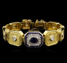 2.40 ctw Blue Sapphire and Diamond Bracelet - 18KT Yellow Gold
