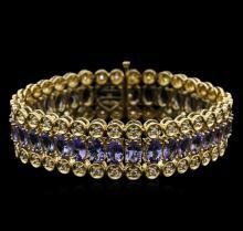 14KT Yellow Gold 20.84 ctw Tanzanite and Diamond Bracelet
